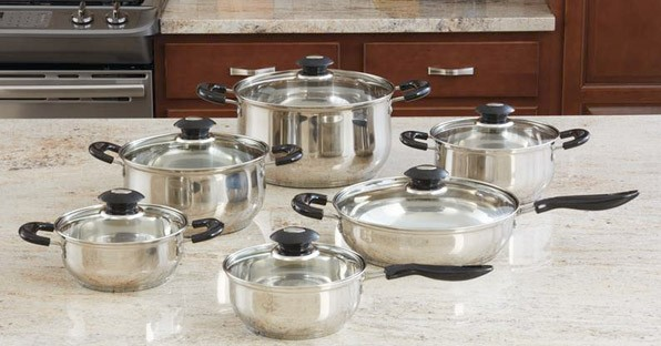 JUSTIN WILSON 12PC. STAINLESS STEEL COOKWARE SET