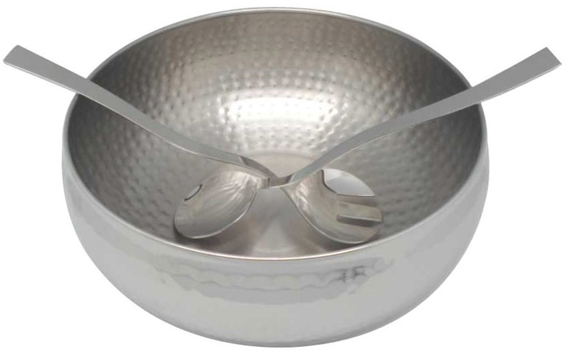 3PC. HAMMERED STAINLESS STEEL SALAD BOWL SET