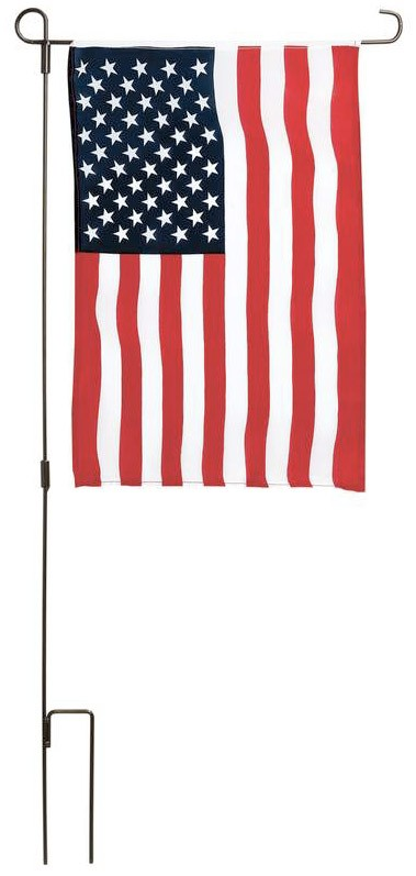 USA OR TEXAS STATE GARDEN FLAG WITH IRON POLE
