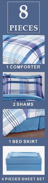 8PC. COMPLETE BED IN A BAG COMFORTER SET