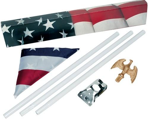 OUTDOOR AMERICAN FLAG POLE KIT WITH USA FLAG