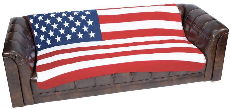 USA FLAG FLEECE THROW BLANKET