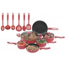 16PC. RED ALUMINUM COOKWARE & UTENCIL SET
