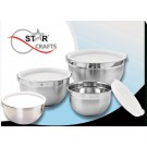 8PC. DEEP BOWL DESIGN STAINLESS STEEL MIXING BOWL SET WITH LIDS